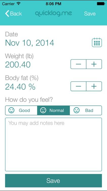 Weight Tracker QuickLog.me screenshot-3