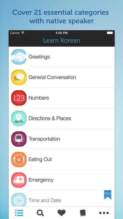Learn Korean - Phrasebook for Travel in Korea, Seoul, Busan, Incheon screenshot-0