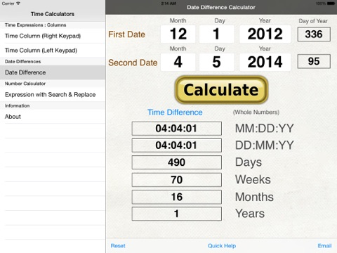 Hours, Minutes & Seconds Calculator with Date Diff | App Price Drops