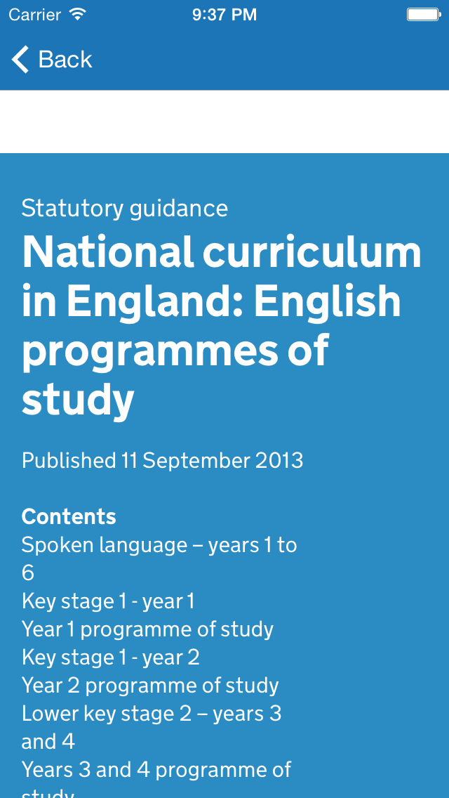 National Curriculum screenshot two