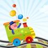 アクティブ! 子どもたちが学び、電車の中で動物たちと遊ぶのにサイズのゲームで並べ替え