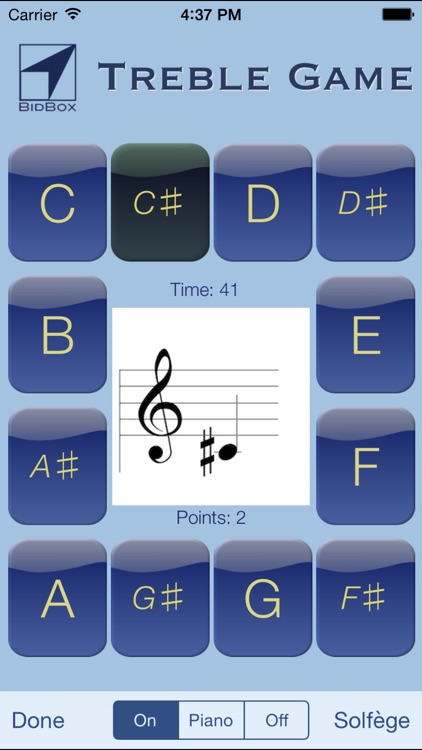 Sheet Music Treble Game