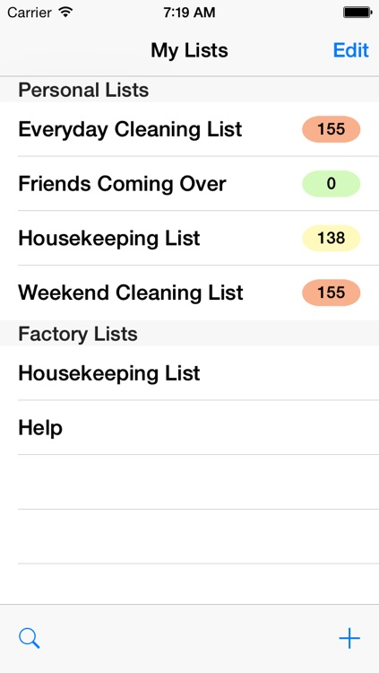 Housekeeping List