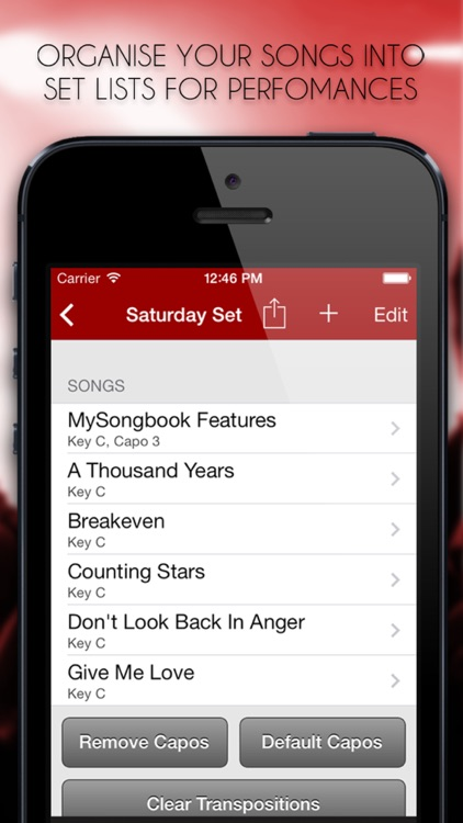 MySongbook - Chord chart binder for performing live gigs on stage and practicing songs on guitar