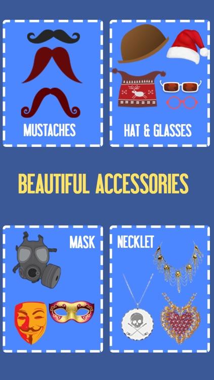 Fun Photo – Face Accessories, Emoticon, Text Over Pic