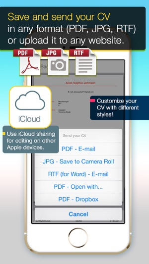 CV Mobile - design & share professional PDF CV on the go on the App ...