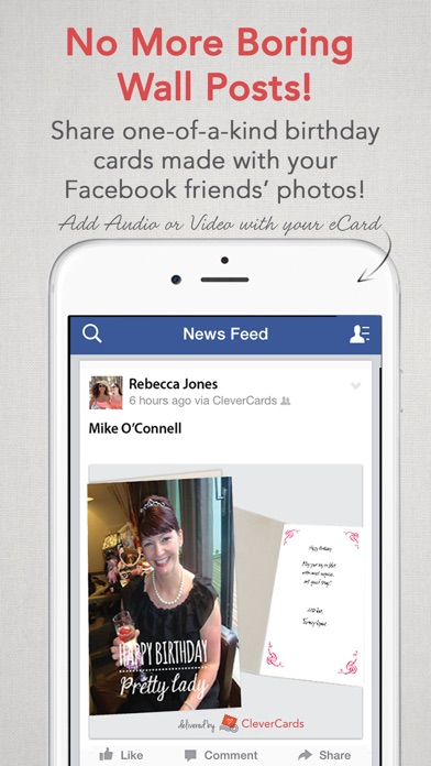 CleverCards Greeting Cards ECards For Facebook Screenshot