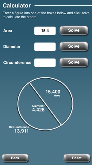 ‎Circle Calculator - Radius/Diameter/Area