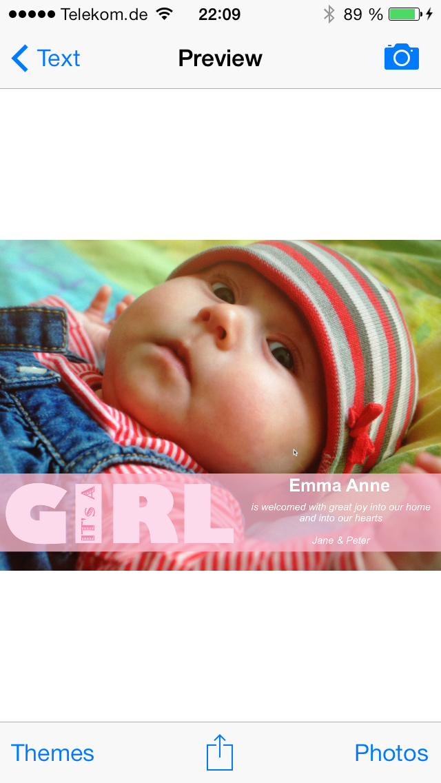 Baby Camera Selfie Free - Birth Announcement and Thank You Cards screenshot two