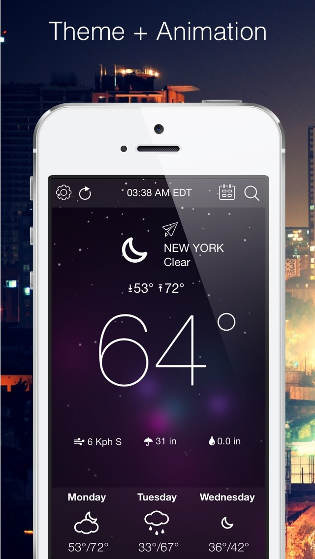 Weather forecast dynamic theme Screenshot