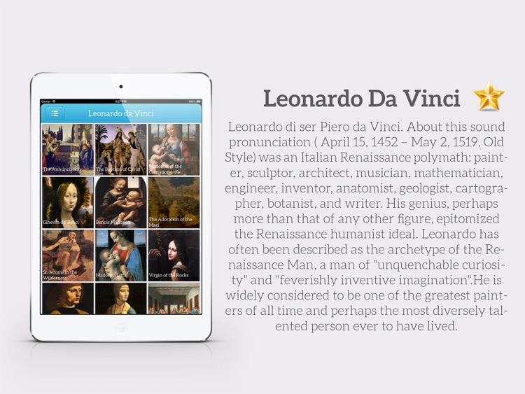 Painting Gallery HD for iPad - Leonardo da Vinci , Edgar Degas , Hieronymus Bosch , Sandro Botticelli
