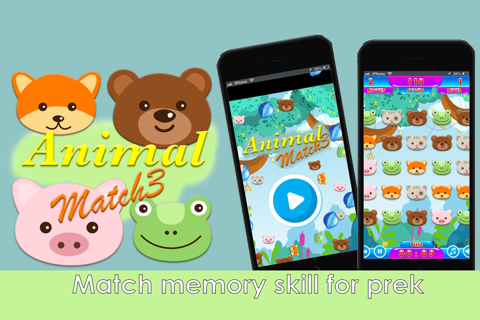 animal face match match 3 - preschool and kindergarten learning games screenshot 2
