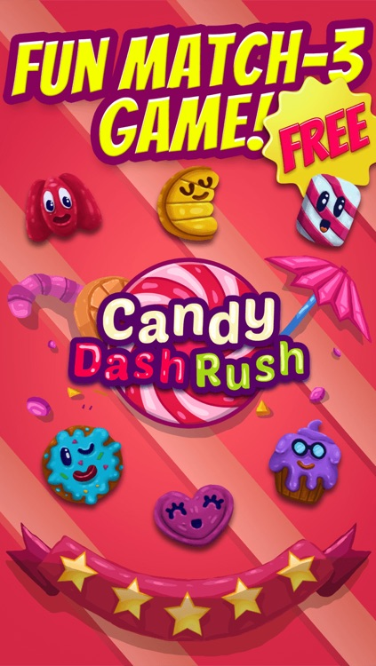 Candy Dash Rush Puzzle Games - Fun Match3 Crush Game For Cool Kids Over 2 FREE Version