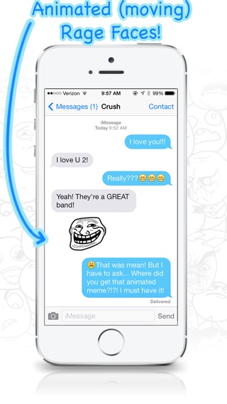 AniMeme - Animated Rage Faces Stickers for iOS7 iMessages Screenshot