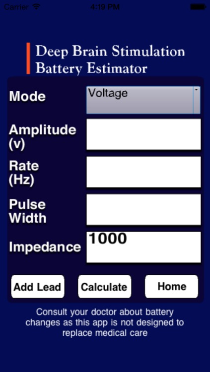 Deep Brain Stimulation Battery Estimator (DBS BE) screenshot-1