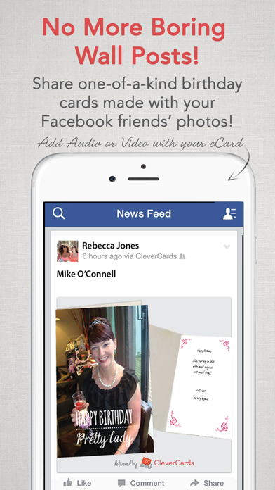 Screenshots of CleverCards: Greeting Cards & eCards for Facebook for iPhone