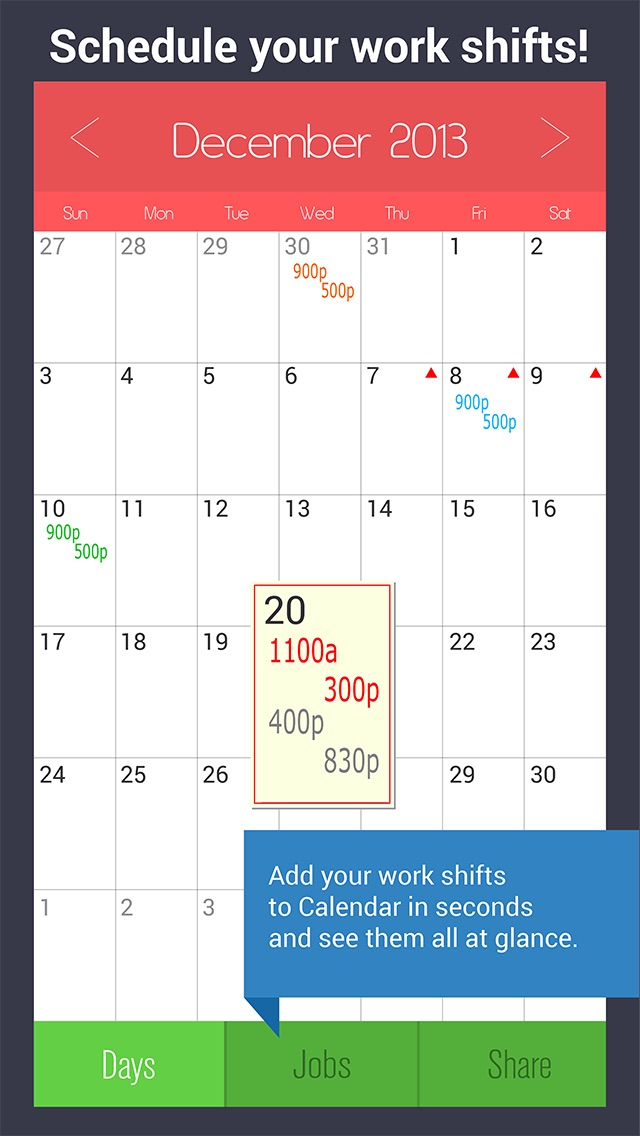 shift calendar work schedule manager job tracker by picshift