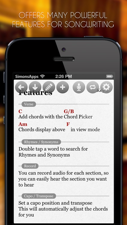 SongWriter - Write lyrics and record melody ideas on the go