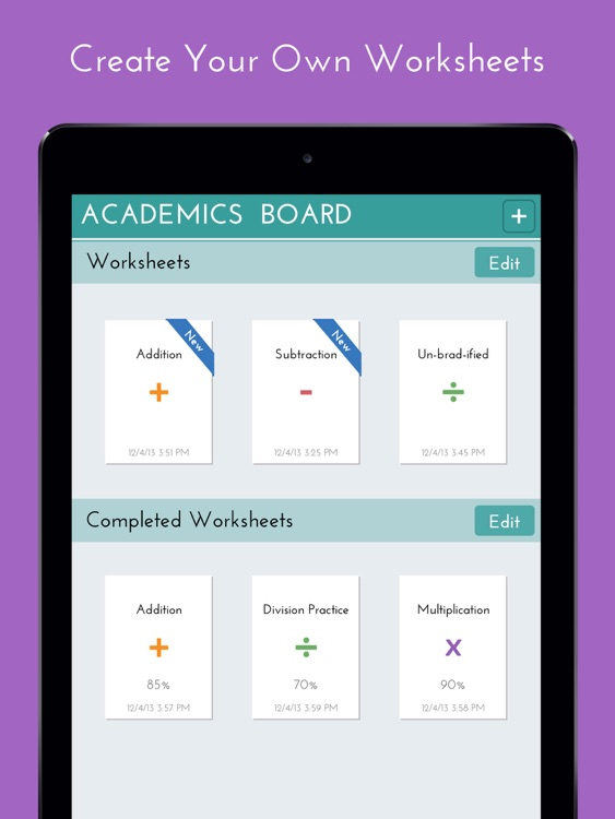 Academics Board - Math Worksheets by Hien Ton