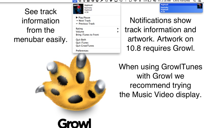 GrowlTunes Screenshot