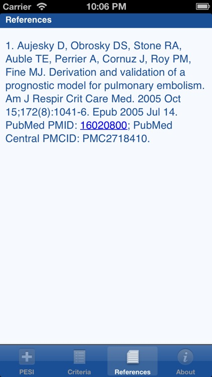 Pulmonary Embolism Severity Index (PESI) screenshot-3