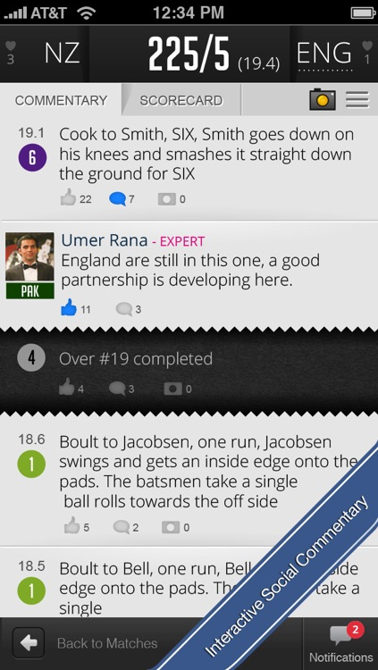 Cricout - Live cricket scores, commentary, experts and friends. The most fun way to follow cricket online!