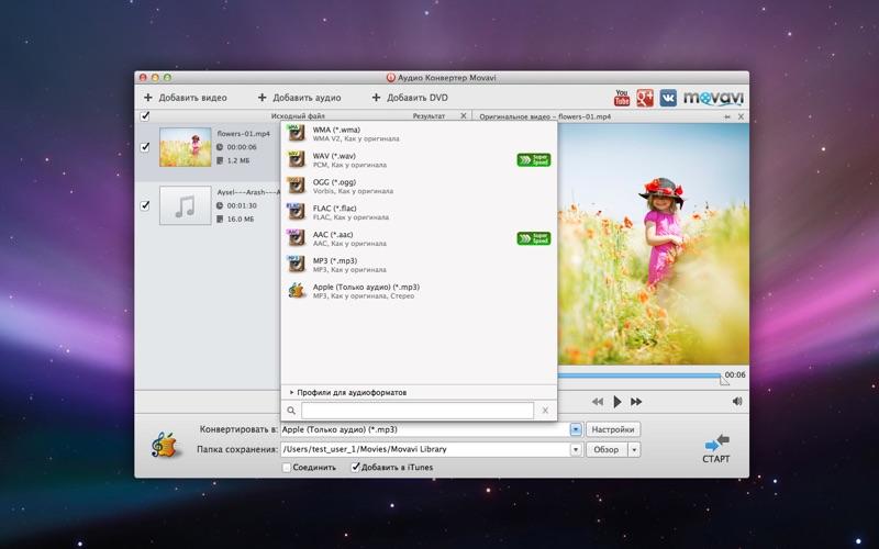Конвертер Аудио Movavi скриншот программы 1