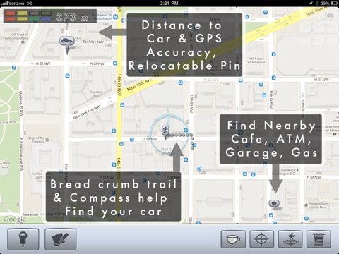Screenshot #3 for Honk - Find Car, Parking Meter Alarm and Nearby Places