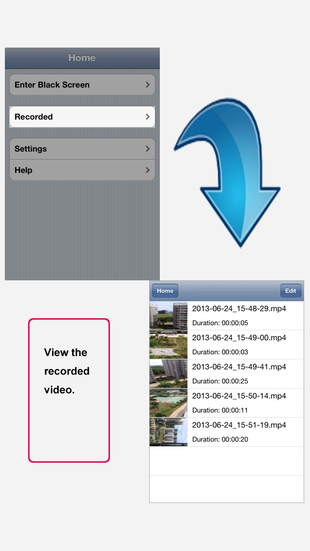 Screenshot #2 pour iBlack Video Recorder