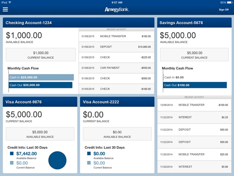 Amegy Mobile Banking for iPad