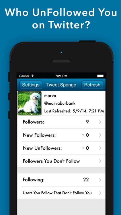 Tweet Sponge - Who Unfollowed and Unfollow me on Twitter for my Followers and UnFollowers Stats