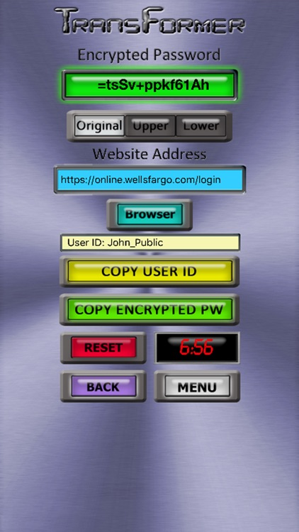 Transformer Password Encryption Generator by Binetrix App Dev, LLC