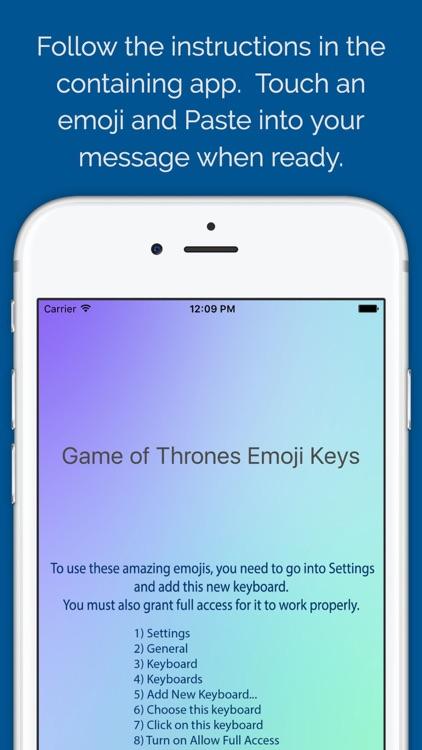 Character Emoji Keys - based on Game of Thrones