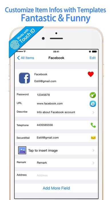 Password Manager Finger Print Lock for iPhone Safe Screenshot