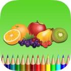 Die Frucht-Malbuch für Kinder: Lernen Sie einen Apfel, Banane, Orange Farbe und mehr icon