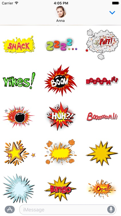 Comic book Greetings: Color chat bubble stickers