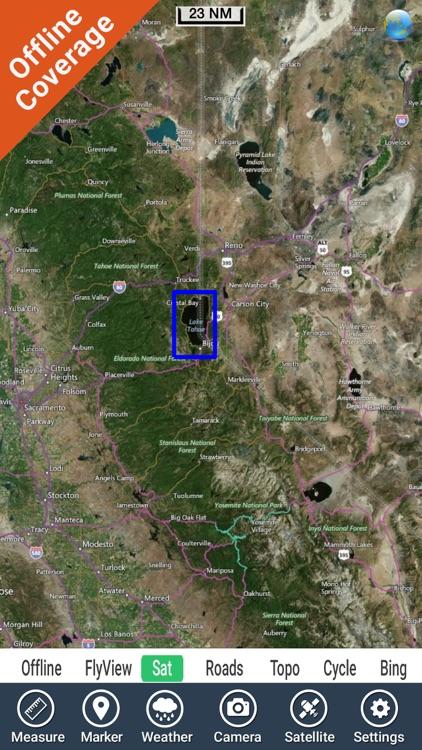 Lake Tahoe California HD GPS fishing chart offline screenshot-4