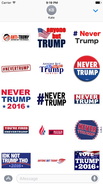 Never Donald Trump for President 2016 Stickers screenshot-1