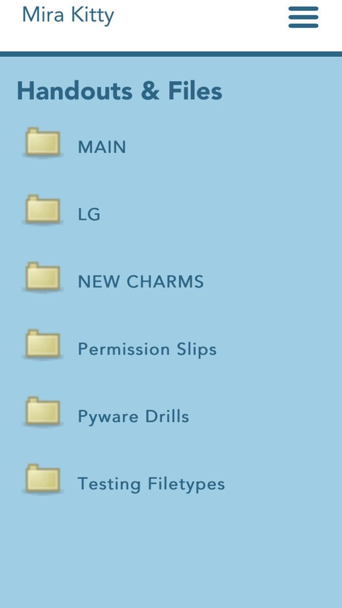 Charms Blue – Student App Screenshot
