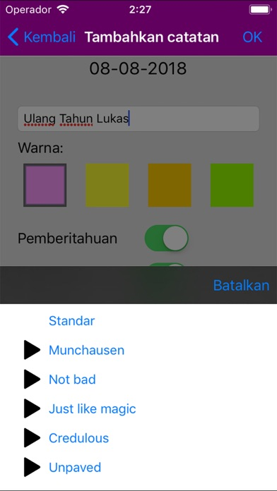 Kalender Indonesia 2018 iPhone