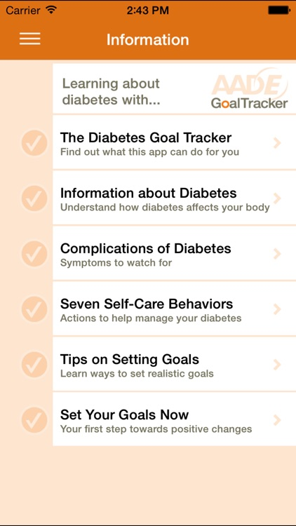 AADE Diabetes Goal Tracker