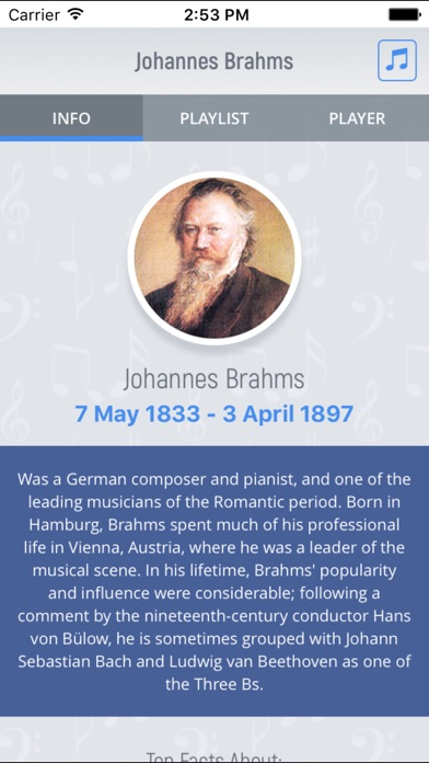 Johannes Brahms - Classical Music Screenshot on iOS