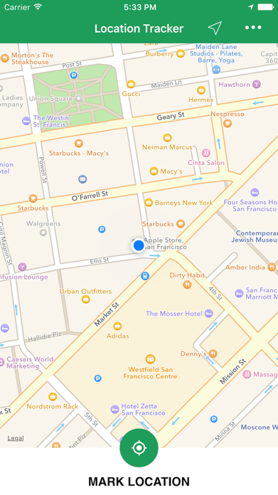 Simple Location Tracker - Track and Find Car Parking with GPS Map Navigation Screenshot