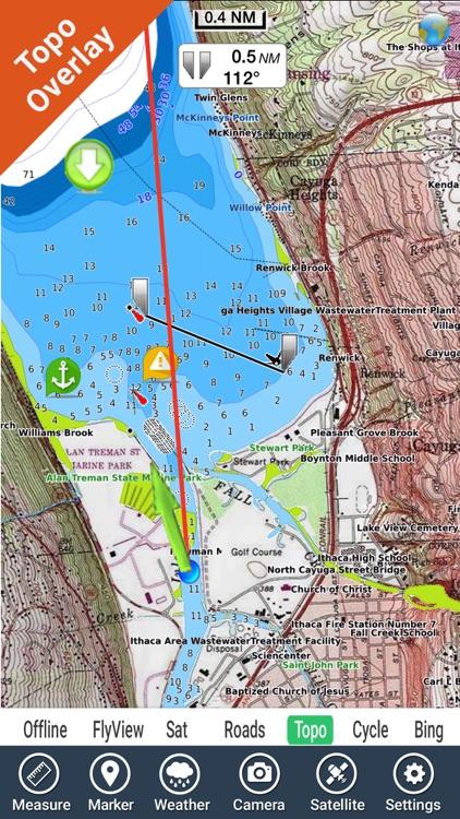 Cayuga - Seneca Lakes New York GPS fishing map