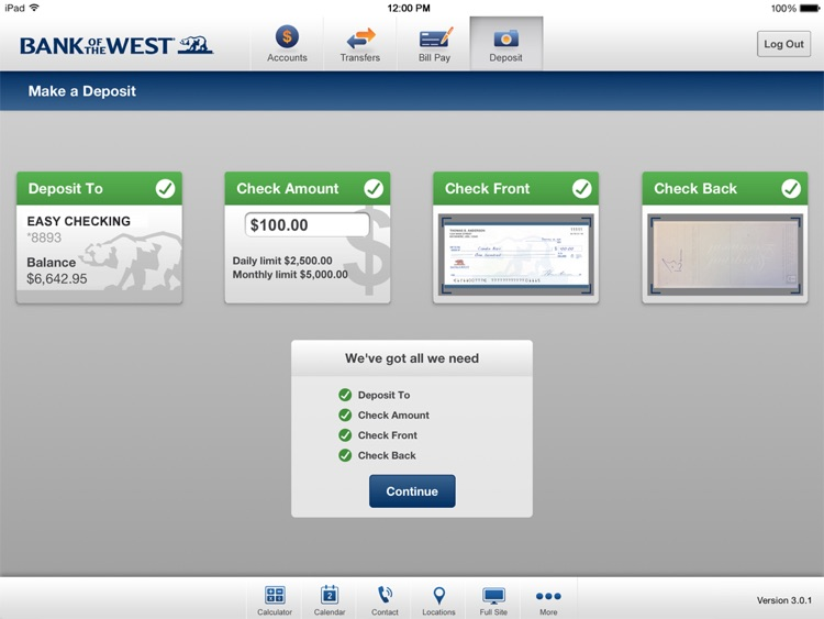 Bank of the West Mobile Banking iPad App screenshot-3