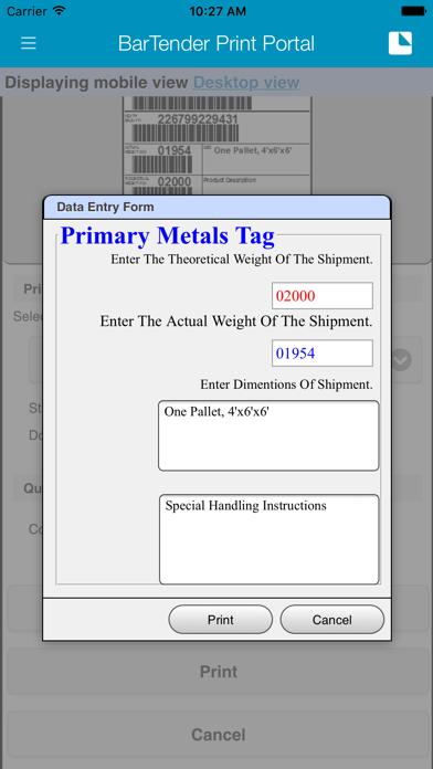 BarTender Print Portal App screenshot four