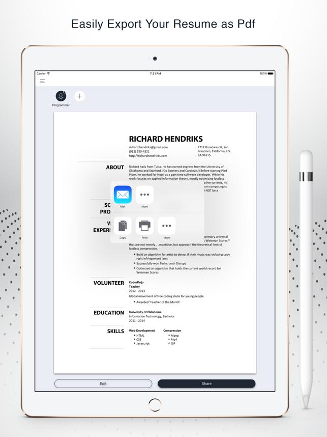 Instant Resume: CV & Resume Builder Free on the App Store