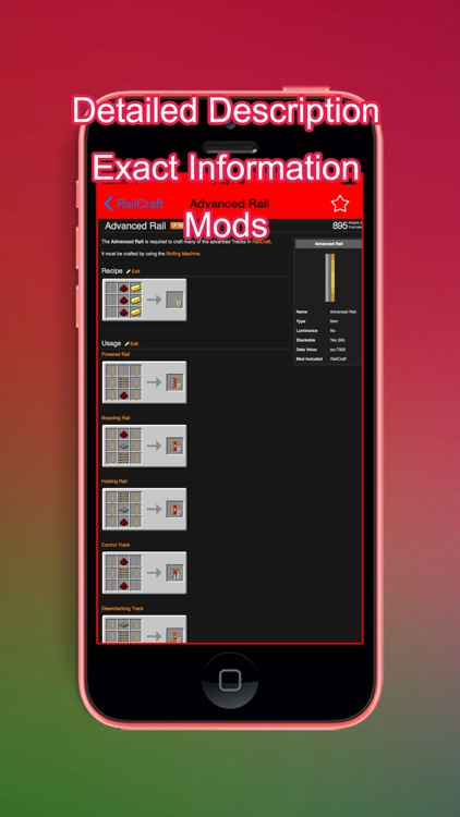 Mod Crafting Reference info for Minecraft Pocket Edition