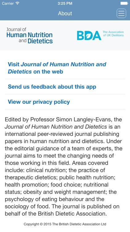 Journal of Human Nutrition and Dietetics App screenshot-3