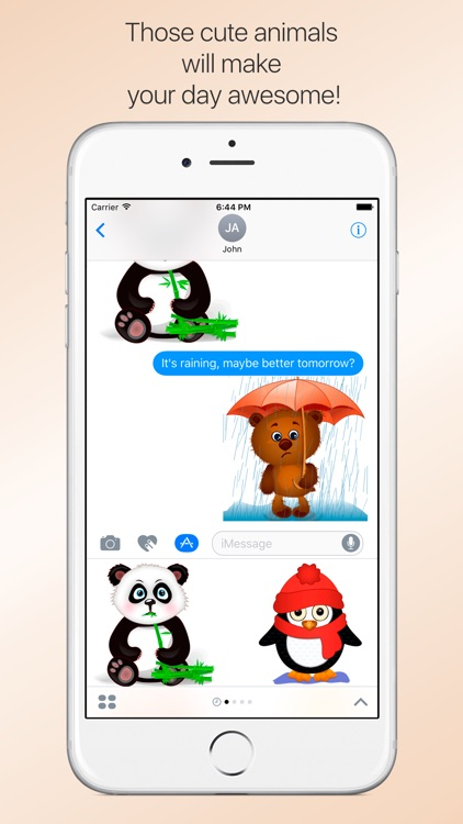 Funny zoo - cute stickers with animated animals